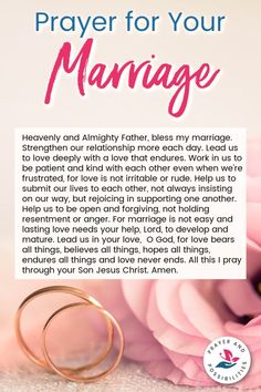 Do you pray for your marriage? Let this marriage prayer help you develop a strong marriage and one with open communication in your relationship. Prayer For My Marriage, Godly Marriage, Faith Prayer, God Prayer, Marriage Relationship, Happy Marriage, Marriage Advice, Love And Marriage, My Prayer For You