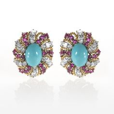 Turquoise Cabachon Earrings With Rubies and Diamonds.  Available exclusively at Macklowe Gallery.