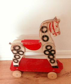 60's wooden toy horse, made in France
