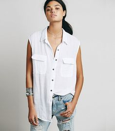 Free People Sleeveless Washed Buttondown Tank // White buttondown tank