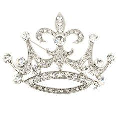 Chrome Fleur-De-Lis Sign Crown Crystal Brooch Pin - Fantasyard Costume Jewelry & Accessories