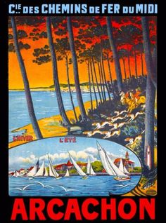 Arcachon-France-French-Europe-European-Vintage-Travel-Advertisement-Poster