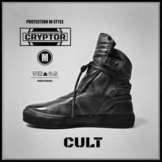 CULT by CRYPTOR - Black mens boots/cyberpunk style shoes/ leather men sneakers/ Dark fashoin style sneakers, Mens Boots Fashion, Fashion Shoes, Fashion Men, Cyberpunk Mode, Leather Men, Leather Shoes, Black Leather, Military Inspired Fashion, Creation Couture