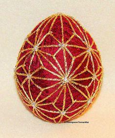 Embroidered Egg, Japanese Temari Inspired Asanoha