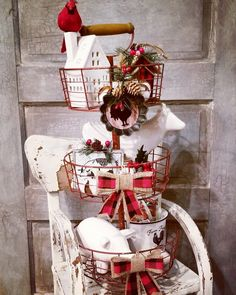 #farmhouse 3 tiered stand   great Christmas centerpiece  #farmhousecenterpiece, #farmhousechristmas, #buffaloplaid
