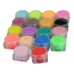 New 18 Colors Nail Art Sculpture Carving Acrylic Powder 18 Pcs * Check out the image by visiting the link.