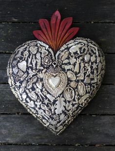 Large Wood Heart with Milagro Miracle Ex Voto, Folk Art Michoacán Mexico