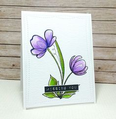 SSS Spring Flowers; big flower; purple; Dymo; missing you; any occasion; stitched rectangle die