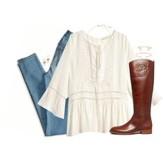 A fashion look from November 2015 featuring H&M blouses, American Eagle Outfitters jeans and Tory Burch boots. Browse and shop related looks.