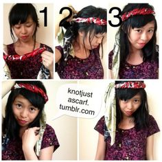 Knot Just A Scarf Tutorial Hippie Headband Tutorial by Rochefort Yin Diy Head Scarf, Scarf Tying Tutorial, Side Curls, Hippie Headbands, Woven Scarves, Wide Headband, Scarf Shirt, One Shoulder Tops, How To Wear Scarves