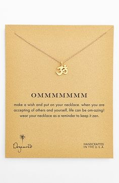 Dogeared 'Reminder - Ommmmmmm' Boxed Pendant Necklace available at #Nordstrom