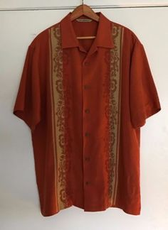 Tommy Bahama Camp Shirt 100% Silk Medium Orange With Floral Embroidery. Mens  Bowling ... c1f45a0425