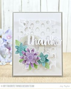 My Favorite Things August 23,2016 Stitched Flowers, Peek-a-Boo Polka Dots, Stitched Circle Frames