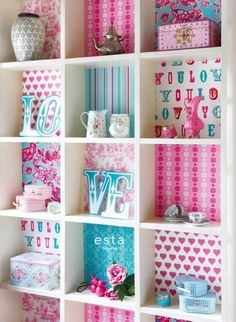 colourwallXL Love turquoise en roze