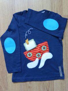 Camiseta personalizada a mano con telas, fieltro y botones. Barco, Vaixell, Boat, Ship.
