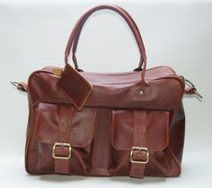 Brown leather schoolbag
