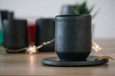 Handmade Black Ceramic Coffee Cup and Saucer, Matte black, pottery, rustic Ceramic Coffee Cups, Coffee Cups And Saucers, Cup And Saucer, Ceramics, Mugs, Tableware, Unique Jewelry, Handmade Gifts, Etsy