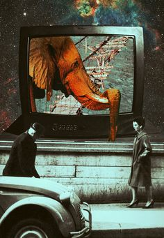 The Enigma Of Time. Surreal Mixed Media Collage Art By Ayham Jabr.
