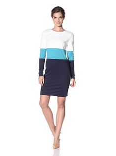 JB by Julie Brown Womens Colorblock Morgan Shift (Ivory/Turquoise/Navy)