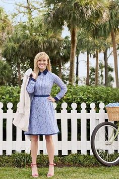 Reese Witherspoon wearing Alexandre Birman Clarita Heels, Draper James Botanical Floral Shirtdress and Draper James Adeline Jacquard Coat