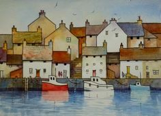 ARTFINDER: Fishing Village by Malcolm Coils - Watercolour using transparent washes and black lines. Sold with double mount and will fit standard 20 x 16 inch frame.