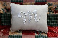 Button Initial Pillow