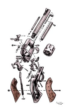 iA drawing of a exploded view of a SW revolver, done as cover art for one of my comics in ink and brush. The washes applied over a copy. A lot of gun lovers like this, and that's ok. I'm a pacifist and I've used guns a few times. I understand the attracti Military Weapons, Weapons Guns, Guns And Ammo, Exploded View, Gun Art, Weapon Concept Art, Le Far West, Airsoft, Firearms