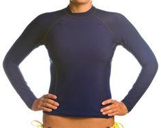 Beach Depot UPF 50+ Women`s Long Sleeve Rash Guard Shirt - Navy Large $29.95