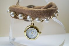 Small Watch Brown Fabric Charm Bracelet by HARMONYHOURWATCHES