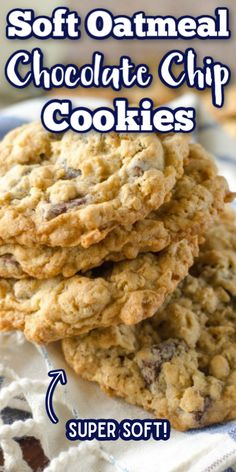 These easy chewy Oatmeal Chocolate Chip Cookies are the best! These soft cookies are even better than the Pioneer Woman recipe! You could even take them up a notch with walnuts or peanut butter! Oatmeal Cookie Recipes, Oatmeal Chocolate Chip Cookies, Easy Cookie Recipes, Baking Recipes, Chocolate Chocolate, Peanut Butter Oatmeal Chocolate Chip Cookie Recipe, Soft Chewy Oatmeal Cookies, Chocolate Chip Recipes Easy, Peanut Butter Chip Cookies