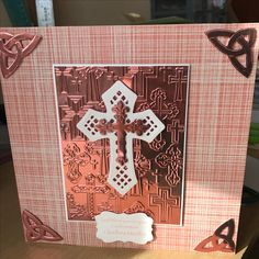 Rose Gold mirri board and Darice embossing folder with Spellbinders Celtic die-cuts