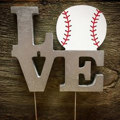 LOVE Baseball Wedding Cake Topper-Wedding by TheCrownedLily