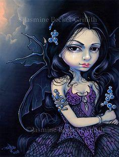 Night Jewel dark angel fairy art print by Jasmine by strangeling, $29.99