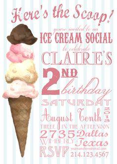 Ice Cream Social Invitation | party ideas | Pinterest | Ice cream ...