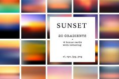 20 sunset gradients + 4 bonus card by Olha Kozachenko on @creativemarket