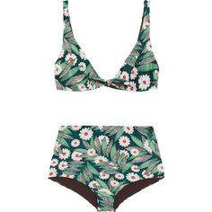 Mara Hoffman Printed bikini found on Polyvore featuring swimwear, bikinis, swim, high-waisted bikinis, high waisted swim wear, mara hoffman bikini, swim wear and high-waisted swimwear