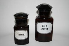 Vintage Scientific Pharmacy Chemist Apothecary Jars Bottles Brown Set of Two