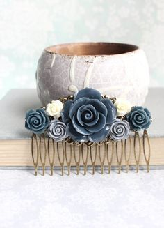 Grey Rose Hair Comb Navy Blue Rose Floral by apocketofposies