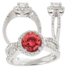 18k lab-grown 6.5mm round padparadscha orange sapphire engagement ring with natural diamond halo