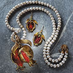 Good Fortune Pomegranate Necklace and Earrings