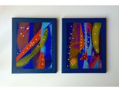 """Set of Two. Title: Abstract Line-out. 12X9"""" (30X23cm)  $89.00 Original Acrylic Abstract on Wood Frame Box Canvas. Ready to hang.  Artist: Dermot Daly  2 abstract designs on Canvas. Contemporary, Vibrant Design.   Titled: """"Abstract Line-out 1 and 4"""" Abstract Lines, Abstract Art, Abstract Designs, Vibrant, Contemporary, Canvas, Box, Frame, Artist"""