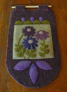 Wool applique pattern PURPLE ON THE PRAIRIE wall hanging penny rug wool folk art