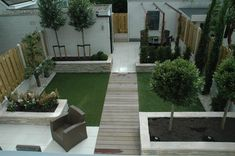 Modern small garden, low maintenance, artificial grass lawn