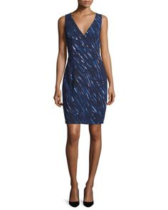 Sleeveless Brushstroke-Print Sheath Dress, Blue by Milly at Neiman Marcus.