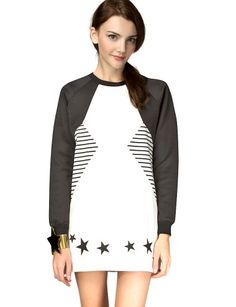 """Badass oversize white baseball tee dress featuring contrast neoprene black sleeves, side striped band, with black stars printed on hem. Ribbed neck, cuffs, and is unlined. This statement sweater dress is perfect with sporty leggings and your favorite sneakers or platform skate shoes. *65% polyester, 35% cotton*38""""/96.5cm bust*31""""/79cm length*Measurement is taken from size small.*Model is wearing size small and model's height is 5'9""""/175cm."""
