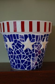 Americana Mosaic Flower Pot by 2ndCycle on Etsy, $37.00
