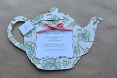 Tea Party Invitations set of 5 with envelopes by DelilahIris, $12.50