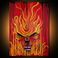 """""""Skull Fire (Horror, Macbre, Gothic Art, Red Abstract Painting)"""" - Acrylics on Canvas, in Horror and Dark Art"""