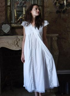 A flattering and cool Regency-inspired Nightgown to help you feel like you're living in the pages of a Jane Austen novel night after night! White Nightgown, Vintage Nightgown, White Dress, Jane Austen, Cotton Nighties, Night Dress For Women, Full Length Skirts, Fall Skirts, Layered Skirt