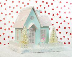 Valentine Putz Glitter House Decoration by HolidaySpiritsDecor, $35.00